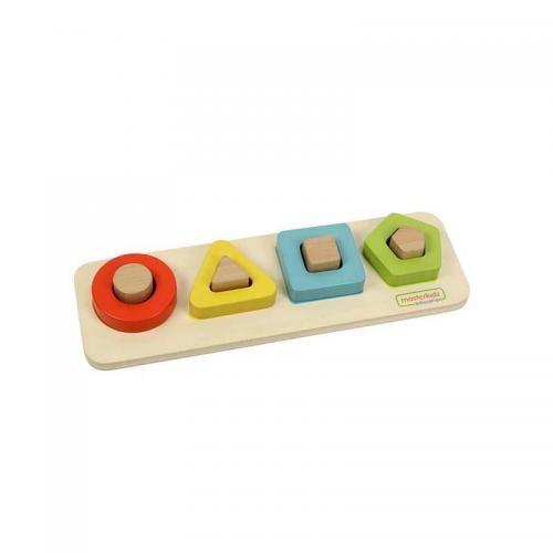 Puzzle sortator 4 forme geometrice (contur) - din lemn - +2 ani - Masterkidz - Jocuri pentru copii - Board games