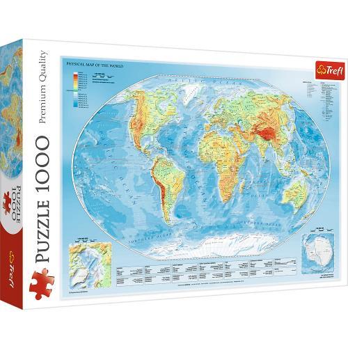 Puzzle trefl 1000 harta fizica a lumii - Jocuri pentru copii - Jocuri cu puzzle