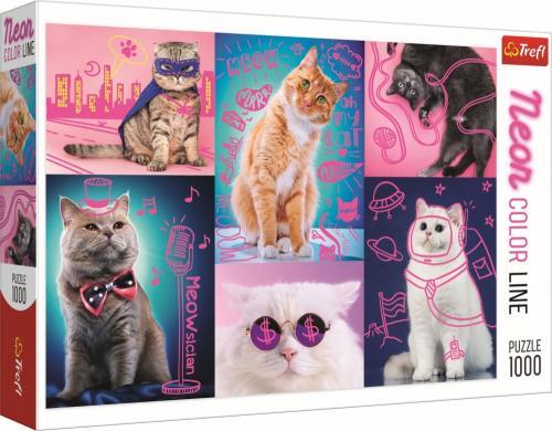 Puzzle trefl 1000 super pisici neon - Jocuri pentru copii - Jocuri cu puzzle