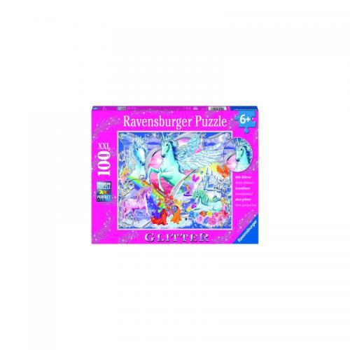 Puzzle Unicorni Cu Sclipici - 100 Piese - Jocuri pentru copii - Jocuri cu puzzle