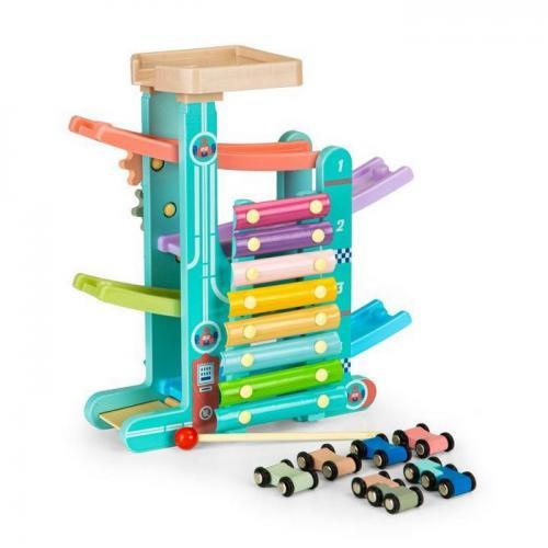 Rampa din lemn cu 6 masinute si tambal ecotoys me115 - Jucarii Montessori -