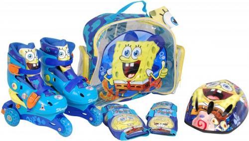 Role copii Saica reglabile 35-38 Sponge Bob cu protectii si casca in ghiozdan - Plimbare bebe - Role copii