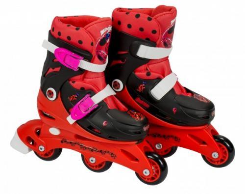 Role pentru copii cu 3 roti Saica 5834 Ladybug marime reglabila 35-38 roti interschimbabile frana de picior - Plimbare bebe - Role copii
