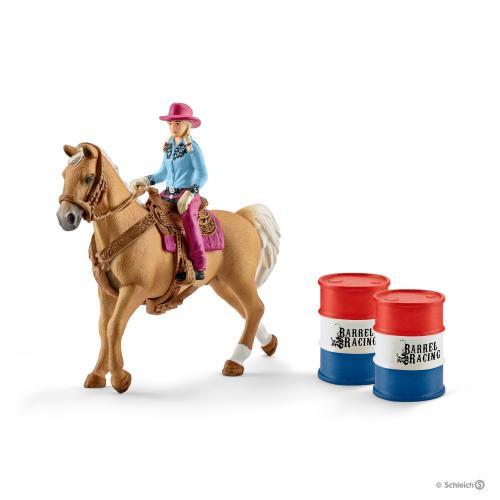 SCHLEICH Cowgirl in cursa cu butoaie - Jucarii copilasi - Figurine pop