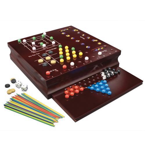 Set 10 Jocuri In Cutie De Lemn - Jocuri pentru copii - Jocuri societate