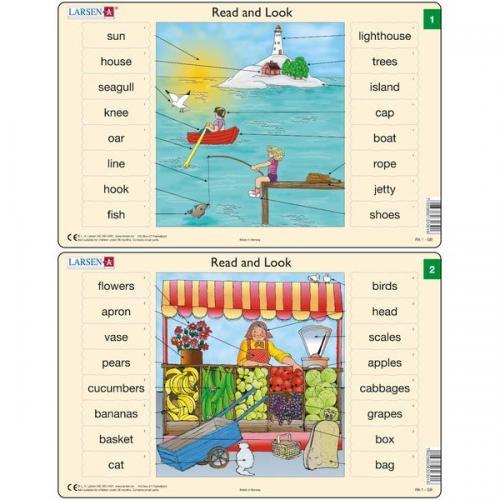 Set 10 Puzzle-uri Read and Look 1 -10 (EN) - 16 piese Larsen LRRA1 - Jocuri pentru copii - Jocuri cu puzzle