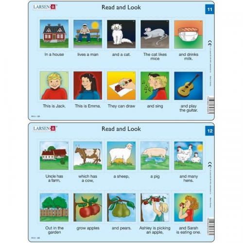 Set 10 Puzzle-uri Read and Look 11 -20 (EN) - 10 piese Larsen LRRA6 - Jocuri pentru copii - Jocuri cu puzzle