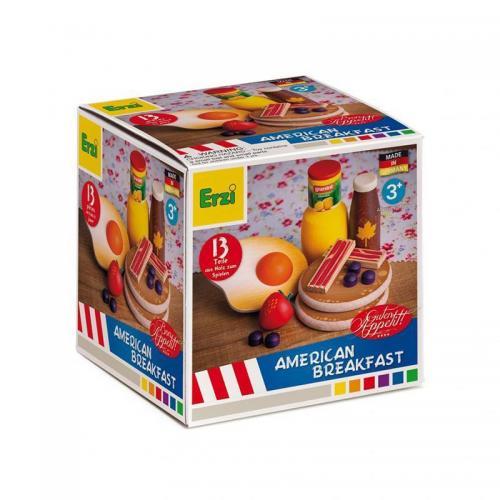 Set 13 alimente din lemn Mic dejun American - 3 ani+ - Erzi - Jucarii copilasi - Jucarii educative bebe