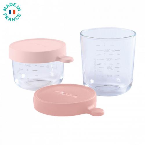 Set 2 recipiente sticla 150/250ml - Roz - Hrana bebelusi - Accesorii alimentare