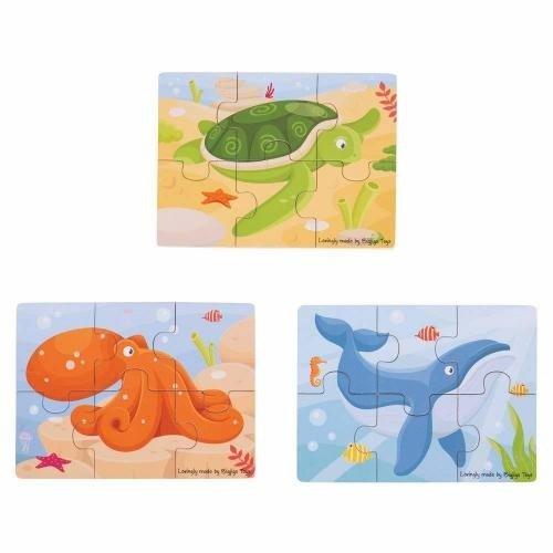 Set 3 puzzle din lemn - Lumea acvatica - Jocuri pentru copii - Jocuri cu puzzle