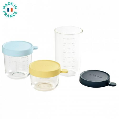 Set 3 recipiente sticla 150/250/400ml - Blue - Hrana bebelusi - Accesorii alimentare