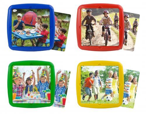 Set 4 puzzle Ma distrez cu prietenii mei - Miniland - Jucarii copilasi - Jucarii educative bebe