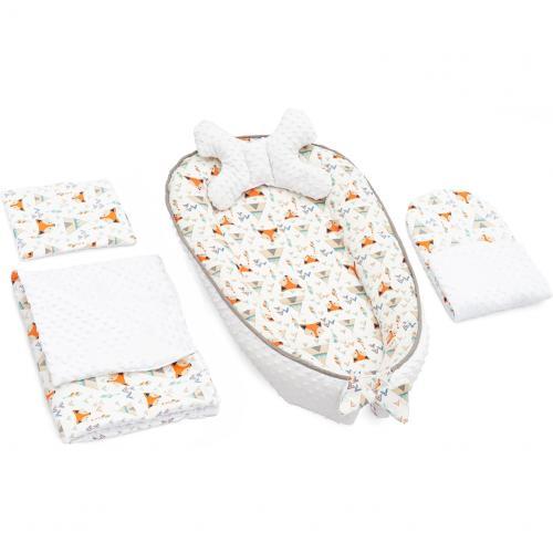 Set 5 in 1 Babynest Minky - 2 perne - 1 paturica si o saltea cu doua fete Tutumi TT37547 - Camera bebelusului - Baby nest