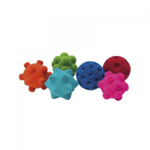 Set 6 mingiute colorate senzoriale din cauciuc natural - Rubbabu - Jucarii bebelusi -