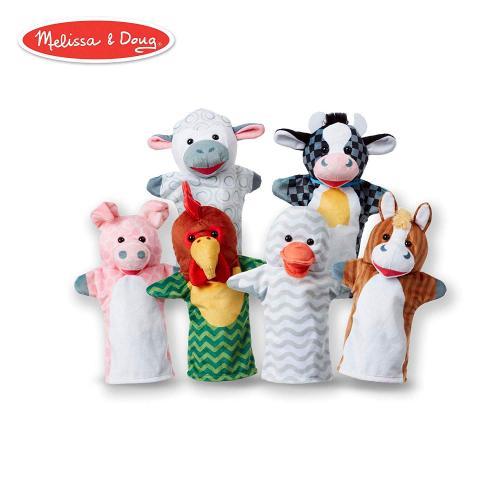 Set 6 papusi de mana Animale de la ferma - Melissa & Doug - Papusi ieftine -
