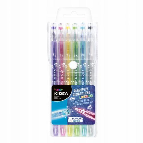 Set 6 Pixuri Colorate Cu Glitter Kidea - Rechizite - Creione carioci