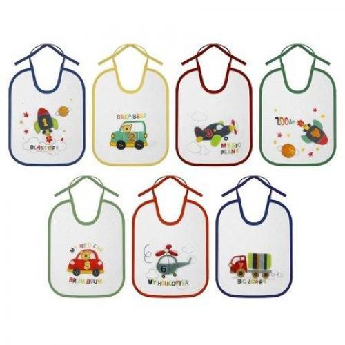 Set 7 bavete zilele saptamanii - big bumbac - inchidere cu snur - culori diferite - Hrana bebelusi - Baveta bebe