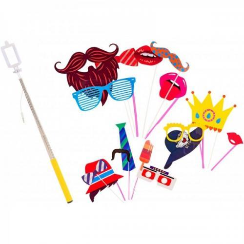 Set accesorii petrecere haioase Globo 38257 masti foto si selfie stick - Jucarii copilasi -
