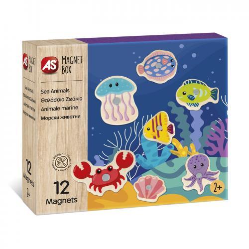 Set animale acvatice cu 12 piese din lemn si magnetice - Jocuri pentru copii - Jocuri societate