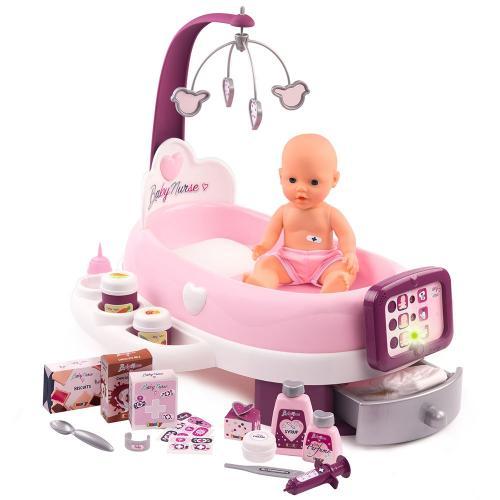 Set cadita si accesorii pentru papusi Smoby Baby Nurse Nursery mov - Papusi ieftine -