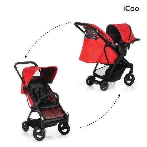 Set Carucior Acrobat Shopn Drive Fishbone Red - Icoo - Carucior bebe - Carucioare 2 in 1