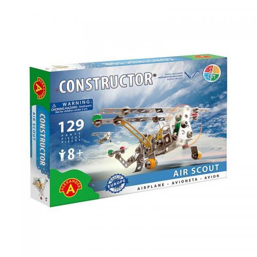 Set constructie 129 piese metalice Constructor Air Scout Avion - Alexander - Jucarii copilasi - Jucarii de constructie