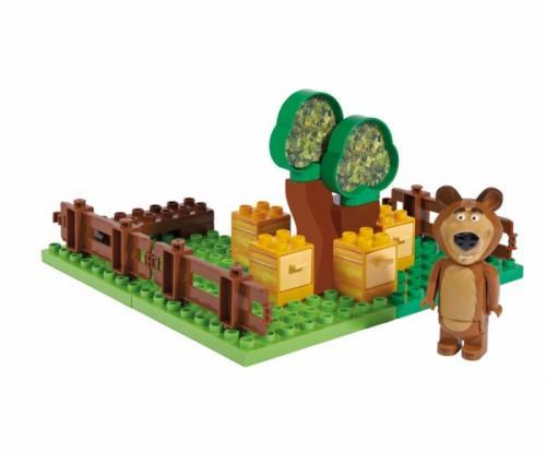 Set constructie cuburi Unico Masha si Ursul Galetusa cuburi Gradina Mishei 21 piese - Jucarii copilasi - Jucarii de constructie
