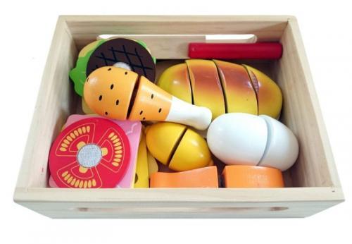 Set de alimente din lemn nefere - Jucarii Montessori -