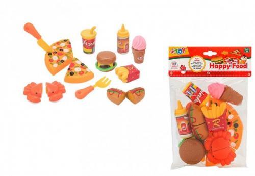 Set de joaca bucatarie Fast Food Globo WToy alimente cu velcro 15 piese - Jucarii copilasi -