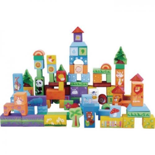 Set educational cu blocuri din lemn 100 piese animalute ecotoys sr19003 - Jucarii Montessori -