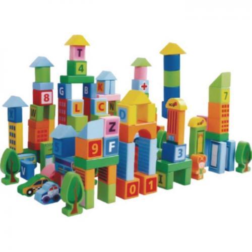 Set educational cu blocuri din lemn 100 piese ecotoys sr19005 - Jucarii Montessori -