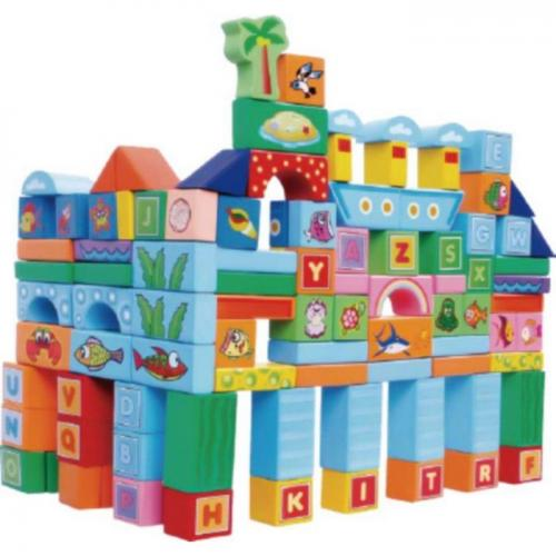 Set educational cu blocuri din lemn 100 piese ocean ecotoys sr19006 - Jucarii Montessori -