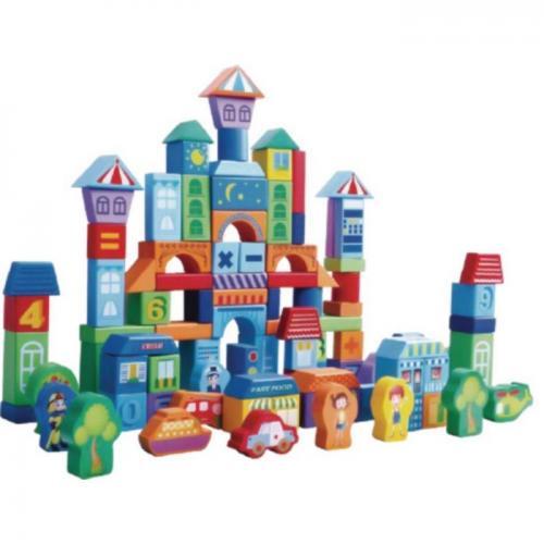 Set educational cu blocuri din lemn 100 piese orasel ecotoys sr19001 - Jucarii Montessori -