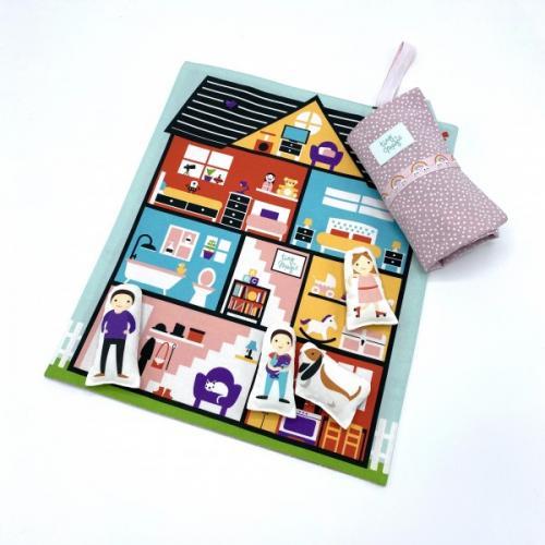 Set joaca portabil Tiny Magic casuta papusii cu 5 personaje incluse - Jucarii copilasi - Arta indemanare