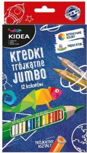 Set Jumbo 12 Creioane Colorate Perlate Kidea - Rechizite - Creione carioci