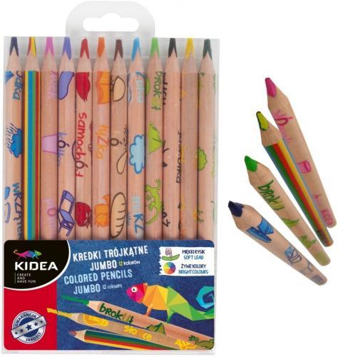 Set Jumbo 12 Creioane Colorate+creion Magic Kidea - Rechizite - Creione carioci