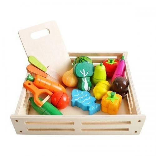 Set Ladita cu fructe si legume din lemn pentru feliat XXL Kruzzel MY17514 - Jucarii copilasi - Jucarii educative bebe