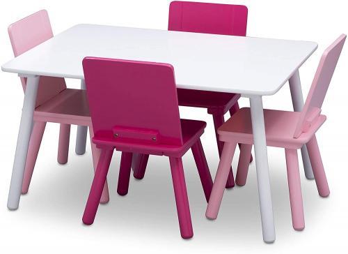 Set masuta si 4 scaunele White/Pink - Camera bebelusului - Mobilier bebe