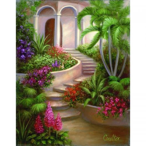 Set pictura artistica pe panza - Gradina tropicala - Rechizite - Pictura si desen