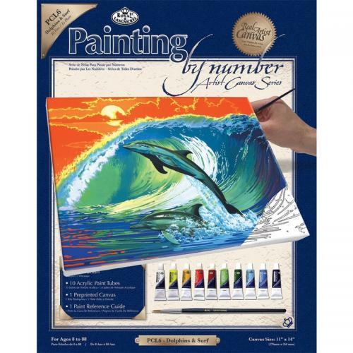 Set pictura pe panza 28x36x25 - Delfini - Rechizite - Pictura si desen