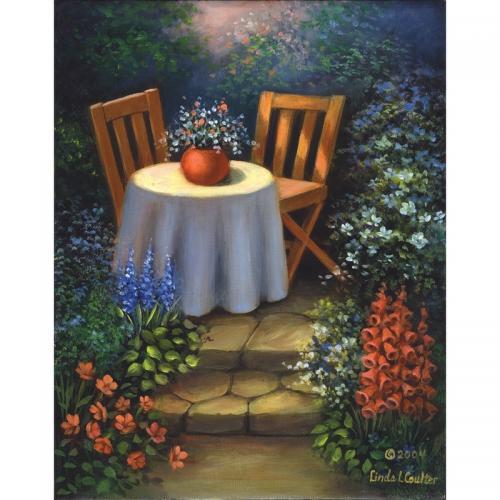 Set pictura pe panza - Masa din gradina - Rechizite - Pictura si desen