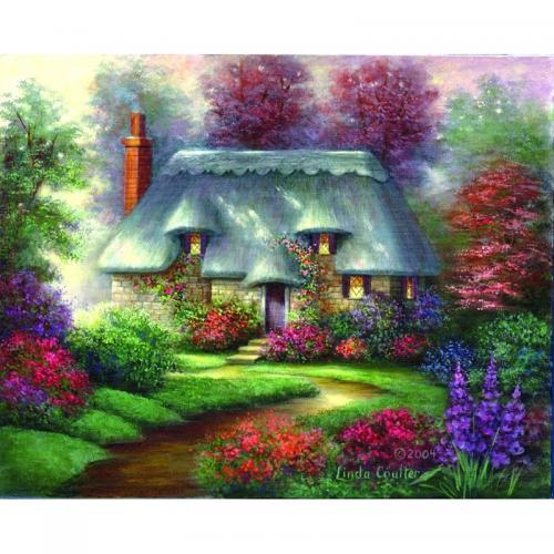 Set pictura pe panza - Peisaj Casuta romantica - Rechizite - Pictura si desen