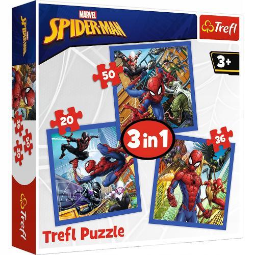 Set puzzle 3 in 1 Trefl Marvel Spider Man - Forta paianjenului - 1x20 piese - 1x36 piese - 1x50 piese - Jocuri pentru copii - Jocuri cu puzzle
