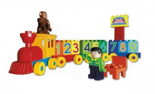Set unico trenulet cu 2 figurine 33 piese - Jucarii copilasi - Jucarii de constructie