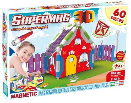 Supermag 3d - Jucarie Cu Magnet Casuta - 60 Piese - Jocuri pentru copii - Jocuri magnetice