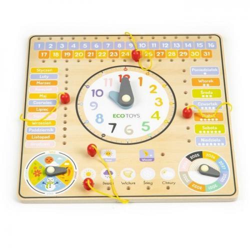 Tabla din lemn cu ceas si calendar ecotoys esc-w-036 - Jucarii Montessori -