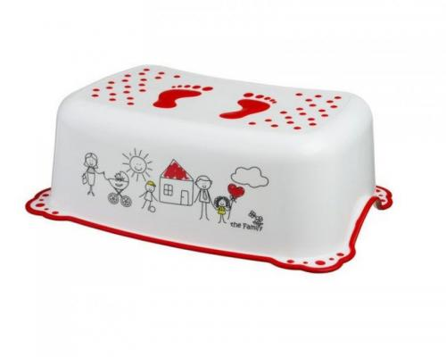 Taburet copii MyKids Family White Red antialunecare - Igiena ingrijire - Olita bebe