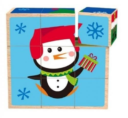 Tooky Toy Cuburi Puzzle Craciun - Jucarii Montessori -