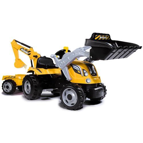 Tractor cu pedale si remorca Smoby Builder Max galben - Jucarii exterior -