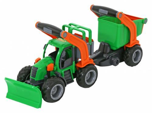 Tractor cu plug de zapada si remorca cu container - Wader - Jucarii copilasi - Avioane jucarie